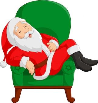 Dibujos animados de santa claus durmiendo en el sillón
