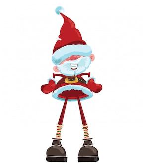 Dibujos animados de santa claus ilustración de navidad con un santa de pie.