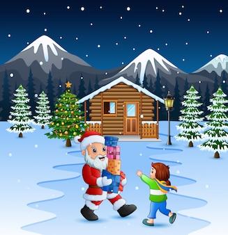 Dibujos animados de santa claus sosteniendo una cajas de regalo