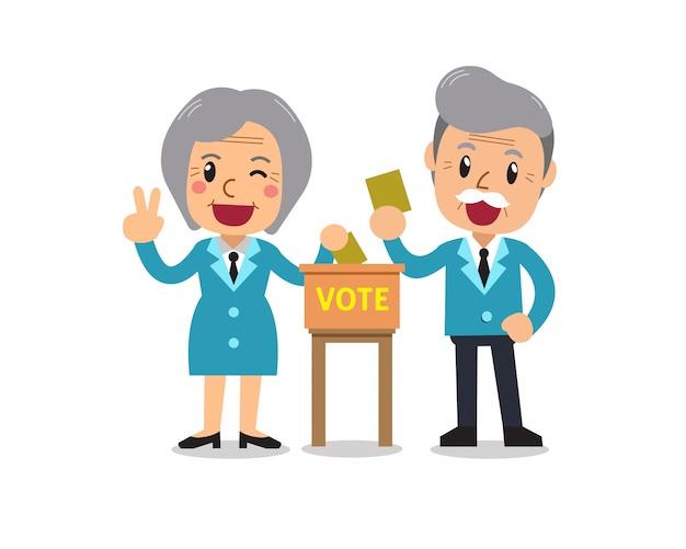 Dibujos animados senior hombre y mujer poniendo papeles de votación en la urna