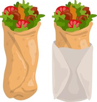 Dibujos animados shawarma burrito o kebab