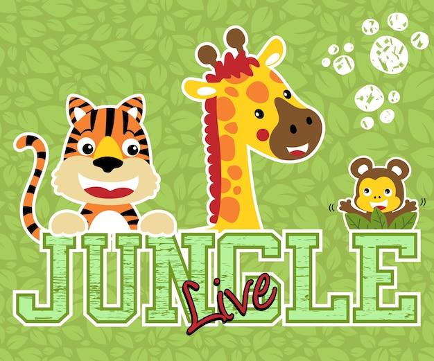Dibujos animados de simpáticos animales en el fondo de las hojas