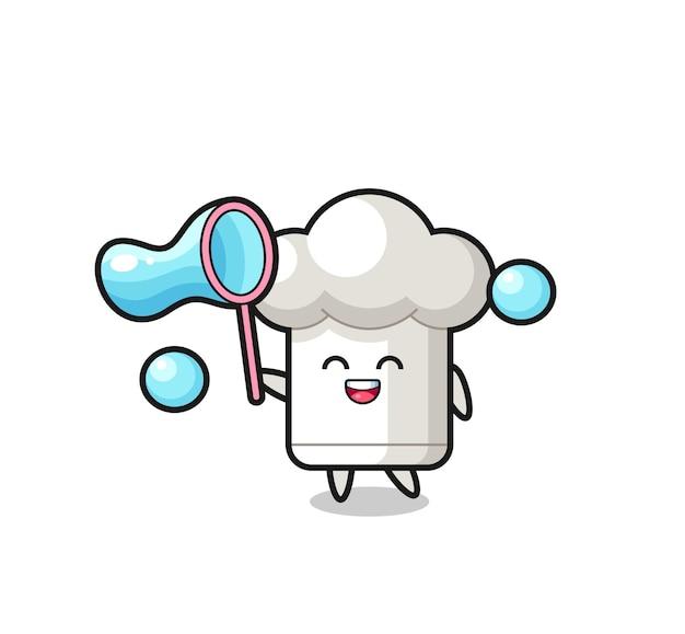 Dibujos animados de sombrero de chef feliz jugando pompas de jabón, diseño de estilo lindo para camiseta, pegatina, elemento de logotipo