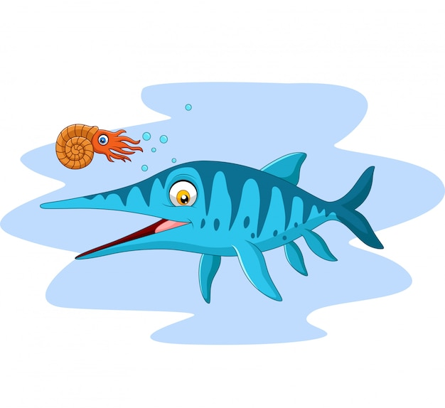 Dibujos animados sonriendo ichthyosaurus y nautilus