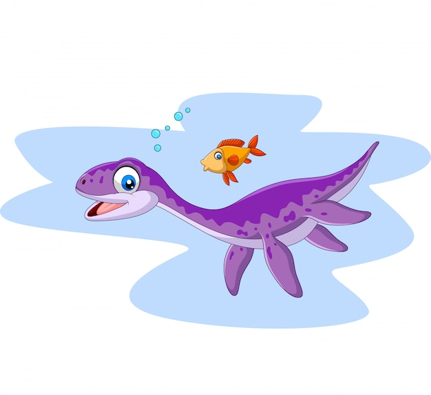 Dibujos animados sonriendo plesiosaurus y pescado