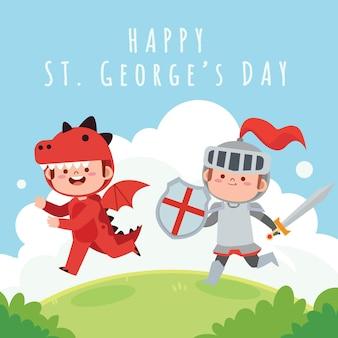 Dibujos animados de st. ilustración del día de george con caballero y dragón