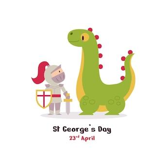 Dibujos animados de st. ilustración del día de george con dragón y caballero