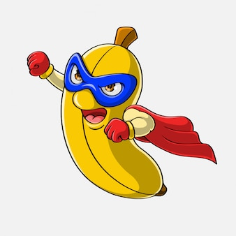 Dibujos animados super héroe banana volando, dibujado a mano