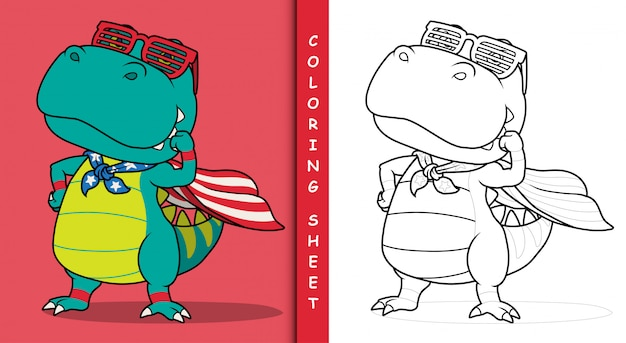 Dibujos animados de superhéroe de dinosaurio. hoja para colorear.