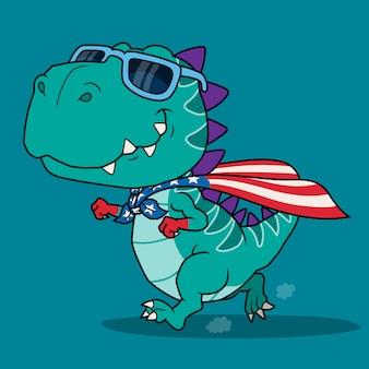 Dibujos animados de superhéroe de dinosaurio.