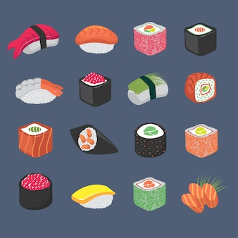 Dibujos animados sushi rollos cocina japonesa mariscos conjunto de vectores