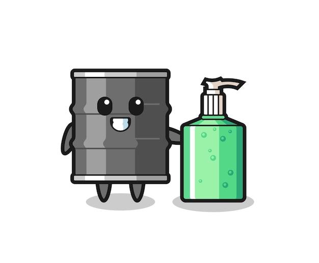 Dibujos animados de tambor de aceite lindo con desinfectante de manos, diseño lindo