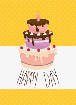 Dibujos animados de tarjeta de celebración de feliz cumpleaños