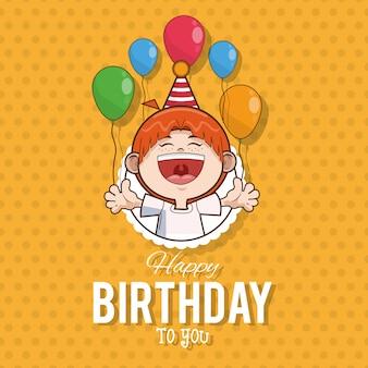 Dibujos animados de tarjeta de feliz cumpleaños niño