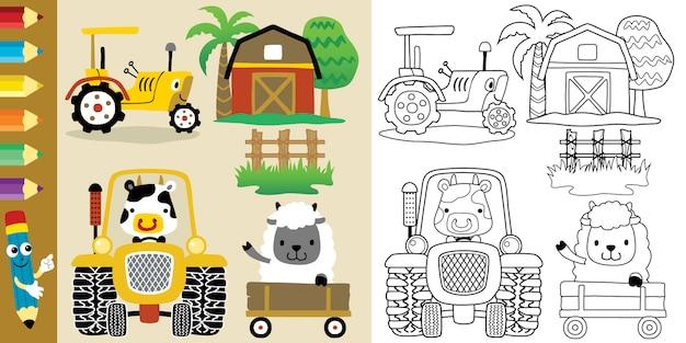 Dibujos animados de tema de campo de granja con divertidos animales y tractores