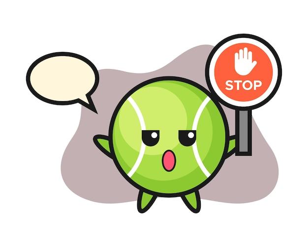 Dibujos animados de tenis con un cartel de stop