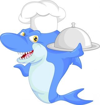 Dibujos animados de tiburones chef