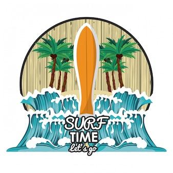 Dibujos animados de tiempo de surf
