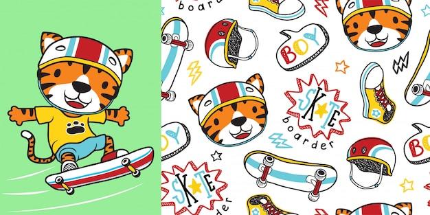 Dibujos animados de tigre con equipo de skate en patrones sin fisuras