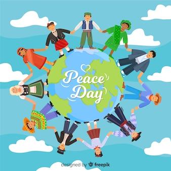 Dibujos animados de todo el mundo celebrando el día de la paz