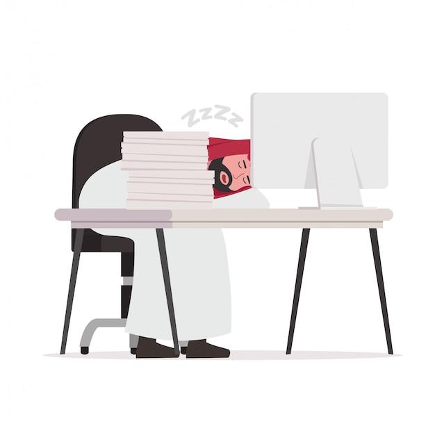 Dibujos animados de trabajador árabe cansado durmiendo