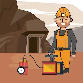 Dibujos animados trabajador minero