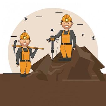 Dibujos animados de trabajadores mineros