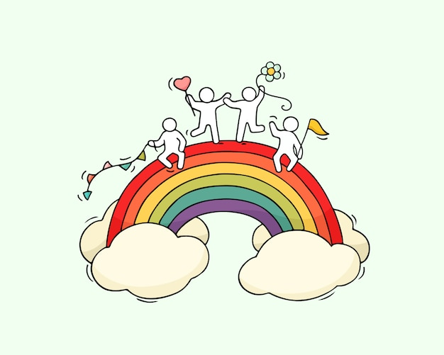 Dibujos animados trabajando pequeñas personas con arco iris.