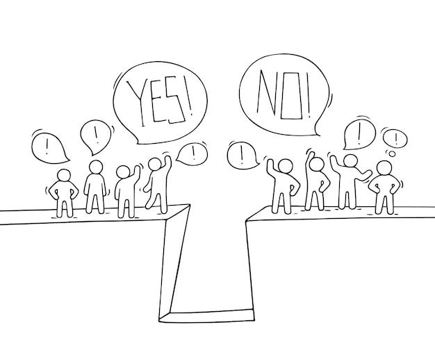Dibujos animados trabajando personas pequeñas con burbujas de discurso.