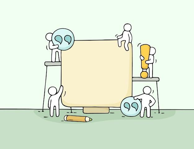 Dibujos animados trabajando personas pequeñas con cita. doodle linda escena en miniatura de trabajadores con espacio en blanco. dibujos animados dibujados a mano para el diseño de negocios.