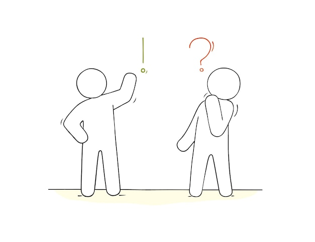 Dibujos animados trabajando personas pequeñas con signos de comunicación doodle escena en miniatura sobre comunicación