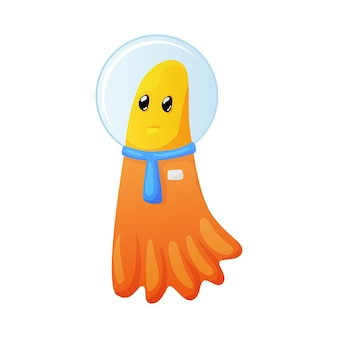 Dibujos animados de traje espacial vistiendo alienígena naranja lindo