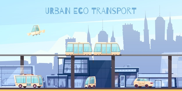 Dibujos animados de transporte ecológico urbano