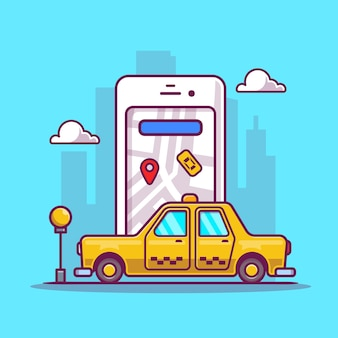 Dibujos animados de transporte de taxi en línea
