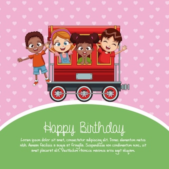 Dibujos animados de tren feliz cumpleaños