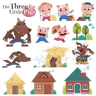 Dibujos animados de tres cerditos. conjunto de personajes lindos