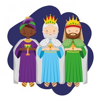 Dibujos animados de tres reyes magos.