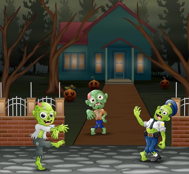Dibujos animados de tres zombies frente a la casa del miedo