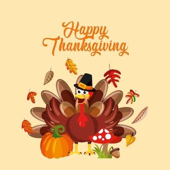 Dibujos animados de turquía con elementos de otoño, tarjeta de acción de gracias