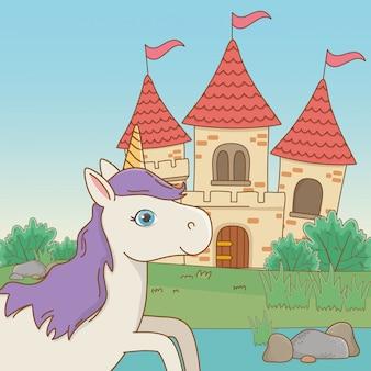 Dibujos animados de unicornio blanco aislado