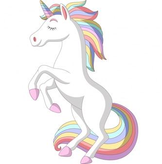 Dibujos animados de unicornio blanco de pie sobre fondo blanco
