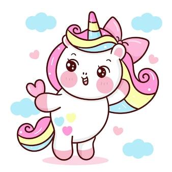 Dibujos animados de unicornio con corazón con animalito de nube kawaii