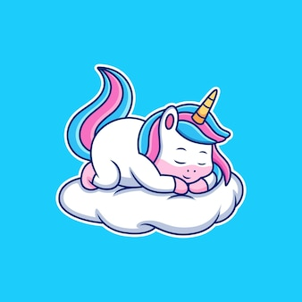 Dibujos animados de unicornio para dormir con pose linda