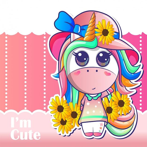 Dibujos animados de unicornio niña feliz