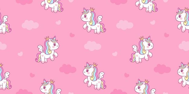 Dibujos animados de unicornio pegaso pony sin costuras con corazones y nubes kawaii animales