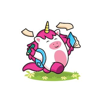 Dibujos animados de unicornio regreso a la escuela