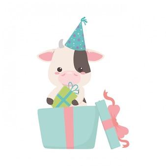 Dibujos animados de vaca con icono de feliz cumpleaños