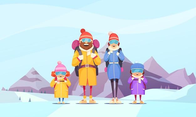 Dibujos animados de vacaciones de invierno de familia de montañismo con padre madre 2 niños contra montañas alpinas