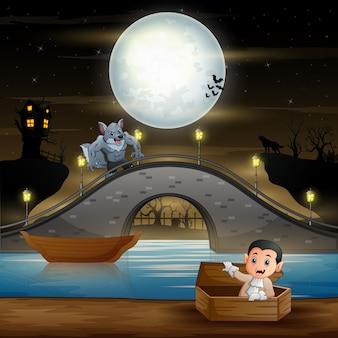 Dibujos animados de vampiros en el paisaje de halloween