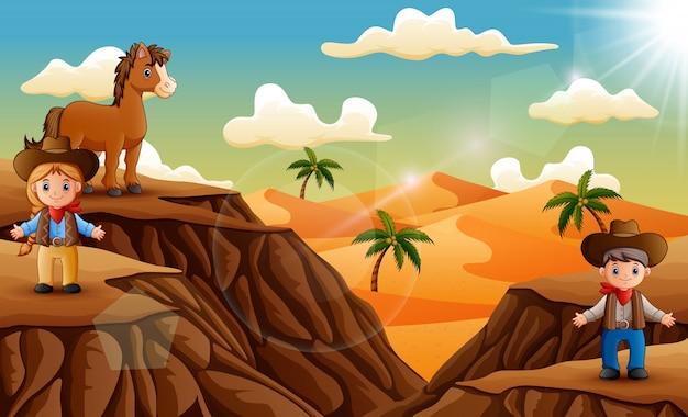 Dibujos animados de un vaquero y cwogirl en el desierto